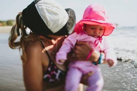 beach baby look down