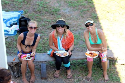 Post-surf beach bbq with my girls! And a very rare photo of the three of us with no babies in the shot!