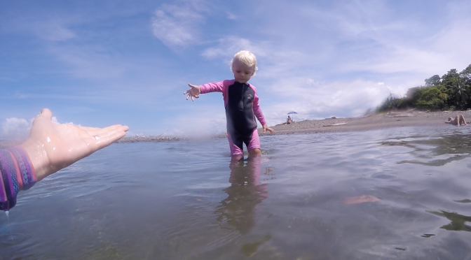 Luna's Day at The Beach – Swimming and Surfing at almost 2 years old